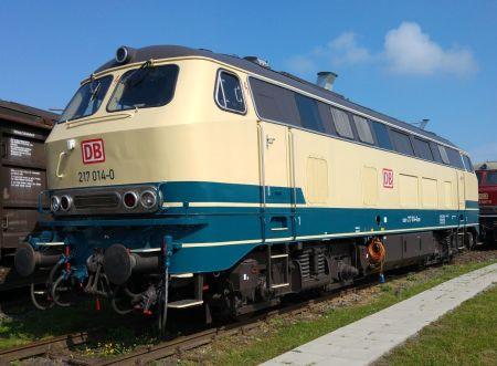 Lok 217 014 in Koblenz-Lützel, 2015